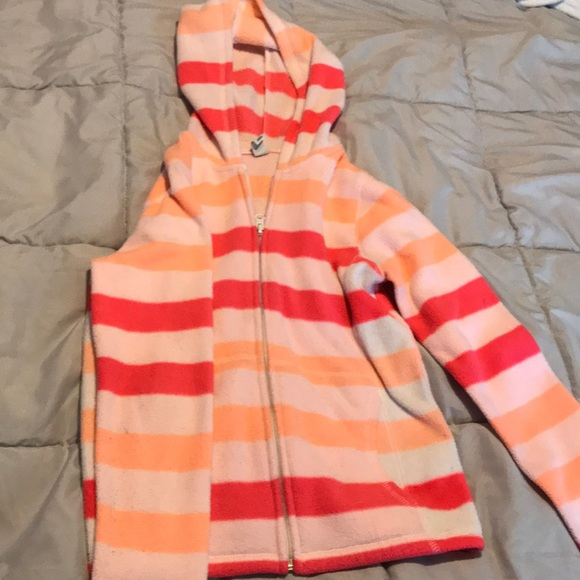 Old Navy Girls Off White & Pink Fleece Top 3t Outerwear